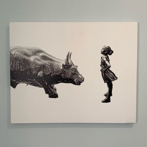 16x20 canvas fearless girl statue Wall Street bull